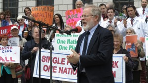Assemblyman Richard Gottfried author of New York Health speaking at Lobby Day Rally 2014
