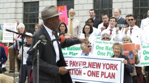 Senator Bill Perkins sponsor of New York Health speaking before rally on Lobby Day Rally May 6, 2014