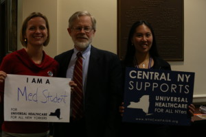 Left to right: Chelsea McGuire, Medical Student; member, Medical Student Section of American Association - PNHP, Assemblyman Richard Gottfried, Lizzy Wei McIntosh, Medical Student, Member, Medical Student Section of American Medical Association - PNHP