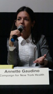 Annette Gaudino, Statewide Coordinator for the Campaign for New York Health, Physicians for a National Health Program–NY Metro Chapter; Annette Gaudino previously worked as a speech and swallowing therapist, and has over 25 years of activist experience in the LGBTQ, HIV/AIDS, and harm reduction movements.